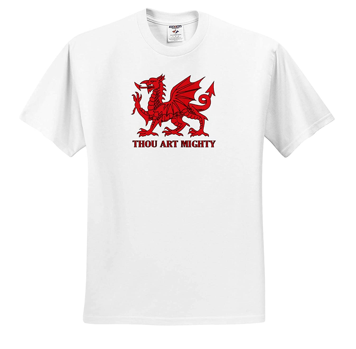 ts/_315646 Adult T-Shirt XL Welsh Rugby 3dRose Taiche Vector Thou Art Mighty Red Dragon Welsh Rugby