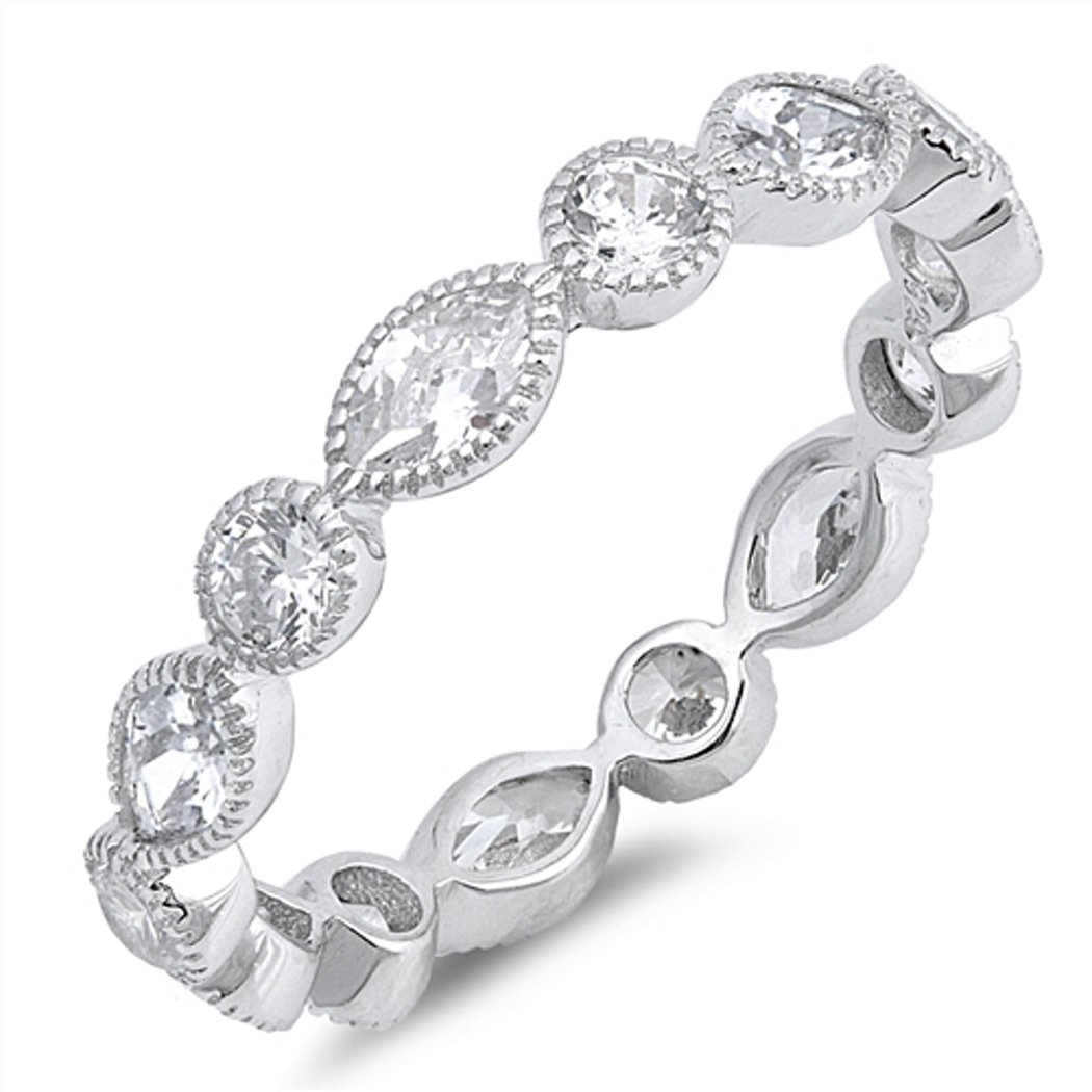 CHOOSE YOUR COLOR Sterling Silver CZ Round-Marquis Eternity Ring (Size 4 - 10) - 10 by JewelryBadger (Image #1)