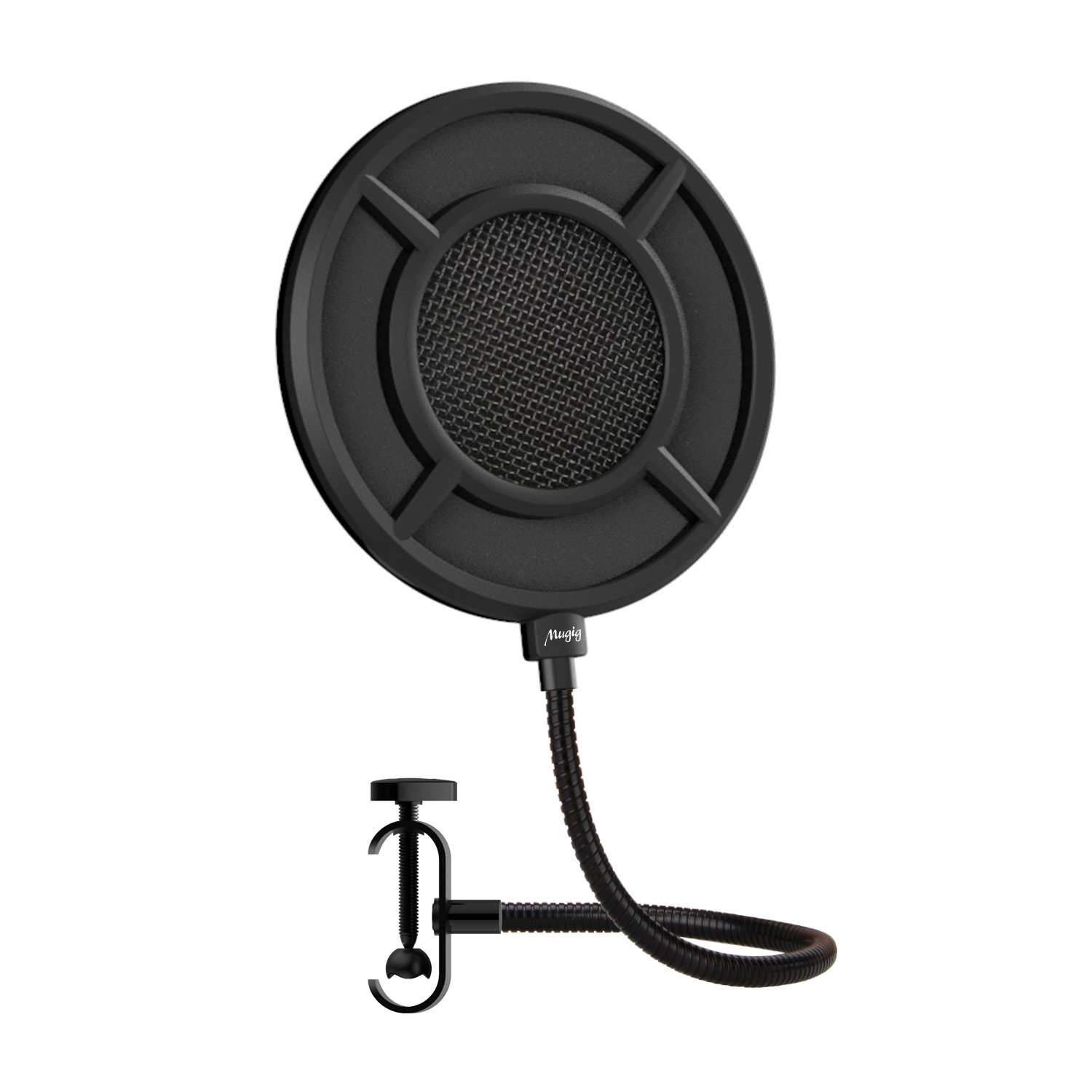 Mugig Round Pop Filter Microphone Wind Screen Pop Filter Pop Shield with Stand Clip Round Black