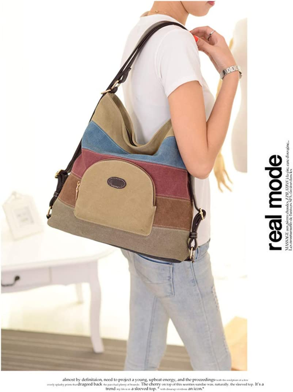 Road/&Cool Shoulder Bags Womens Backpack Contrast Canvas School Bag Hobo Commuter Tote Bag Beach Travel Shopping Bag Casual Vintage Handbag 33/×13/×35cm