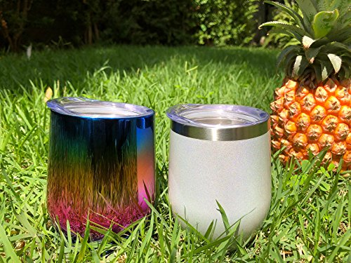 CHILLOUT LIFE Stainless Steel Stemless Wine Glass Tumbler 2 Pack Sparkle Holographic 12 oz | Double Wall Vacuum Insulated Wine Tumbler with Lids Set of Two for Coffee, Wine, Cocktails, Ice Cream by CHILLOUT LIFE (Image #5)