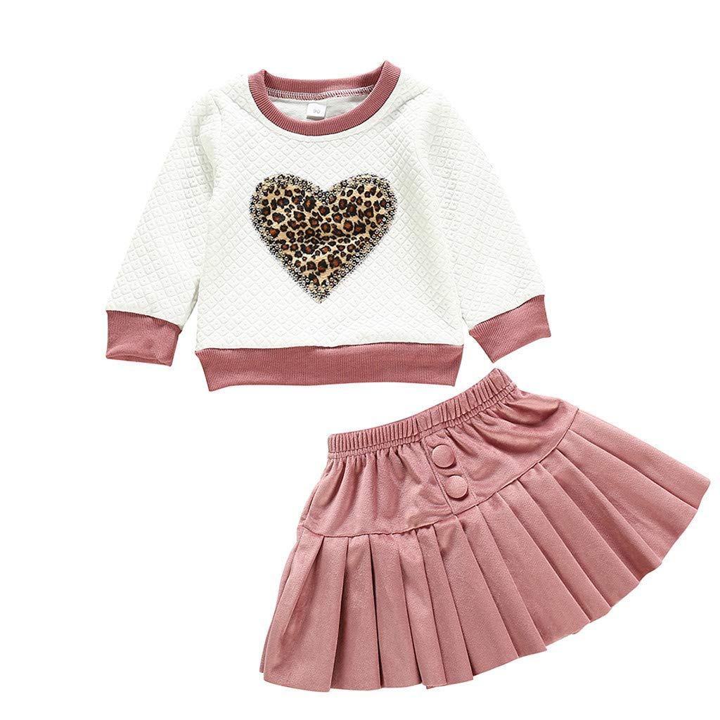 Toddler Baby Girls Heart Leopard Print Tops Pullover Solid Ruched Skirt Set1-4 Years Girls Long Sleeve Clothes Baby Dresses Kids Skirts