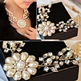 Sumanee Pendants Luxury Jewelry Simulated Pearl Chain Flower Choker Statement Necklace