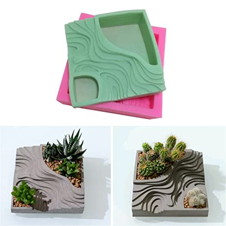 Sundlight Succulent Plant Flower Pot Silicone Mold Gypsum Cement Fleshy Flower Bonsai DIY Ashtray Candle Holder