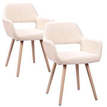 HENGMEI Juego de 2 sillas de madera retro del comedor Sillas Piernas de cocina para comedor y sala de estar, oficina (Modelo F,) Modelo B Beige