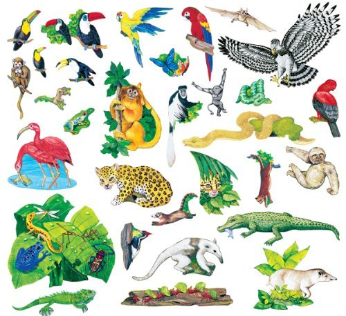 Little Folk Visuals Rain Forest Animals Precut Flannel/Felt Board Figures, 31 Pieces Set