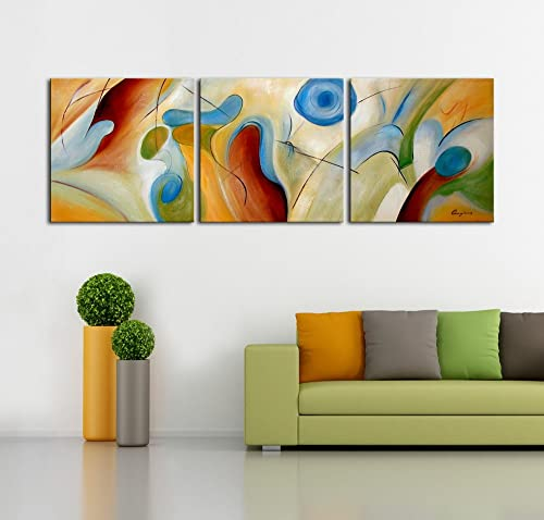 ARTLAND Modern 100 Hand Painted Abstract Oil Painting on Canvas Dream Whirlpool 3-Piece Framed Wall Art for Living Room Artwork for Wall Decor Home Decoration 24x24inchesx3, Canvas Wall Art 1