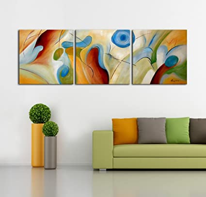 Amazon.com: ARTLAND Modern 100% Hand Painted Abstract Oil Painting ...
