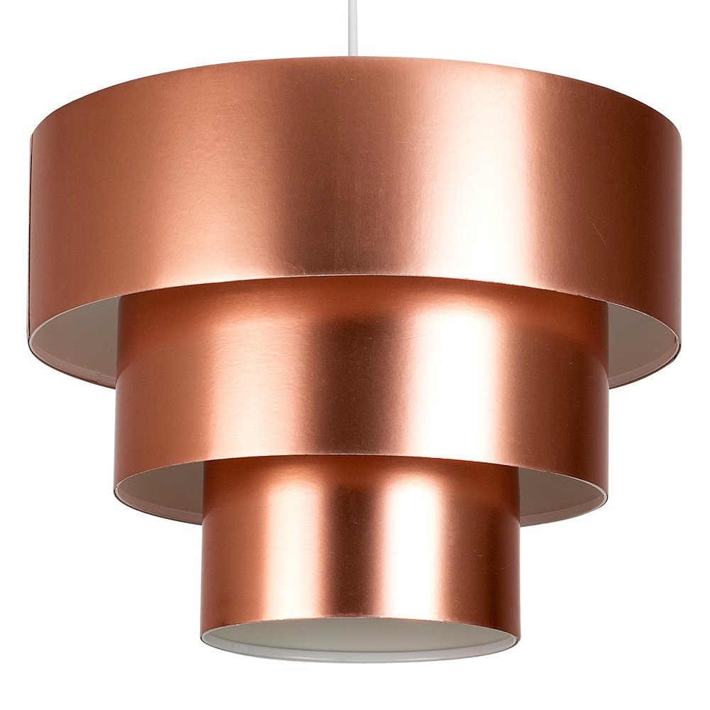 Modern 3 tier round copper effect ceiling pendant light shade modern 3 tier round copper effect ceiling pendant light shade amazon lighting mozeypictures Image collections