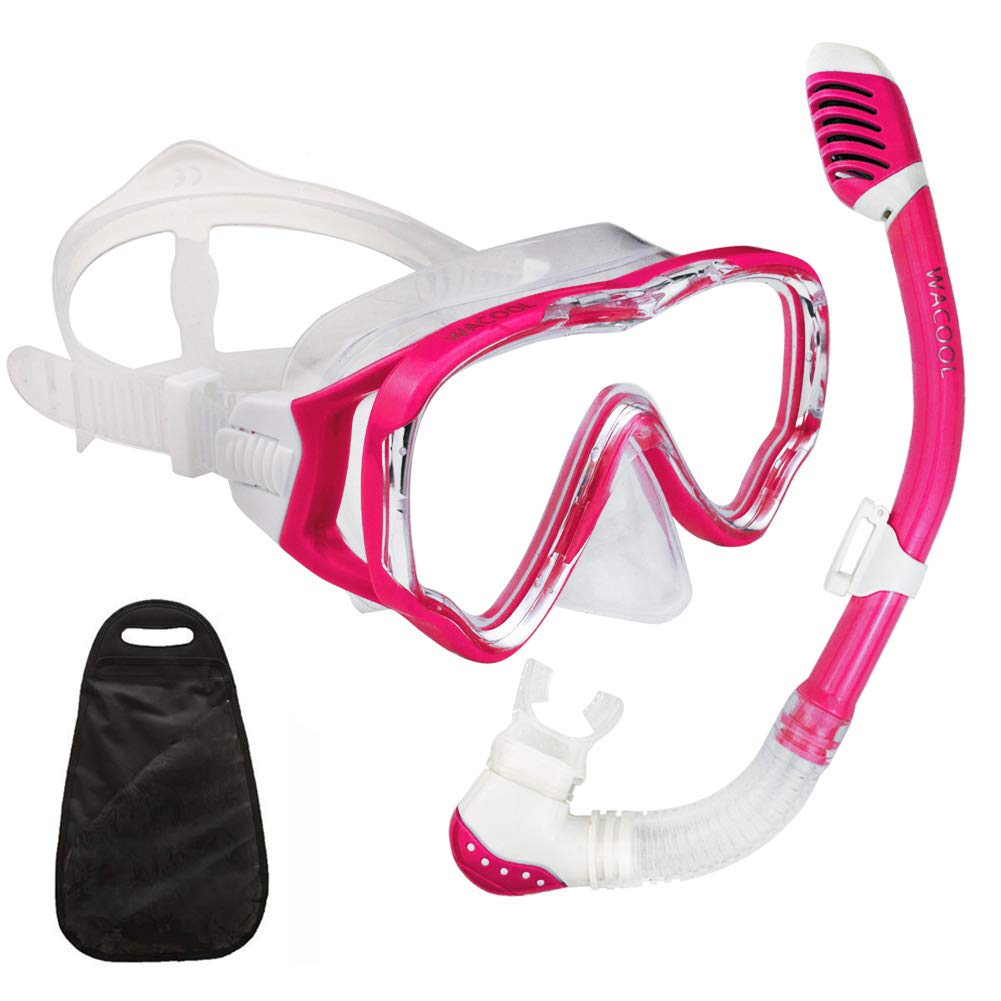 WACOOL Snorkeling Snorkel Package Set for Kids Youth Junior, Anti-Fog Coated Glass Diving Mask, Snorkel with Silicon Mouth Piece,Purge Valve and Anti-Splash Guard. (Red)