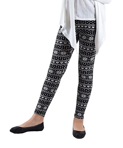 12b6e33be3df4e Dinamit Jeans Girl's Fun Printed Leggings Heart and Flower Abstract XS