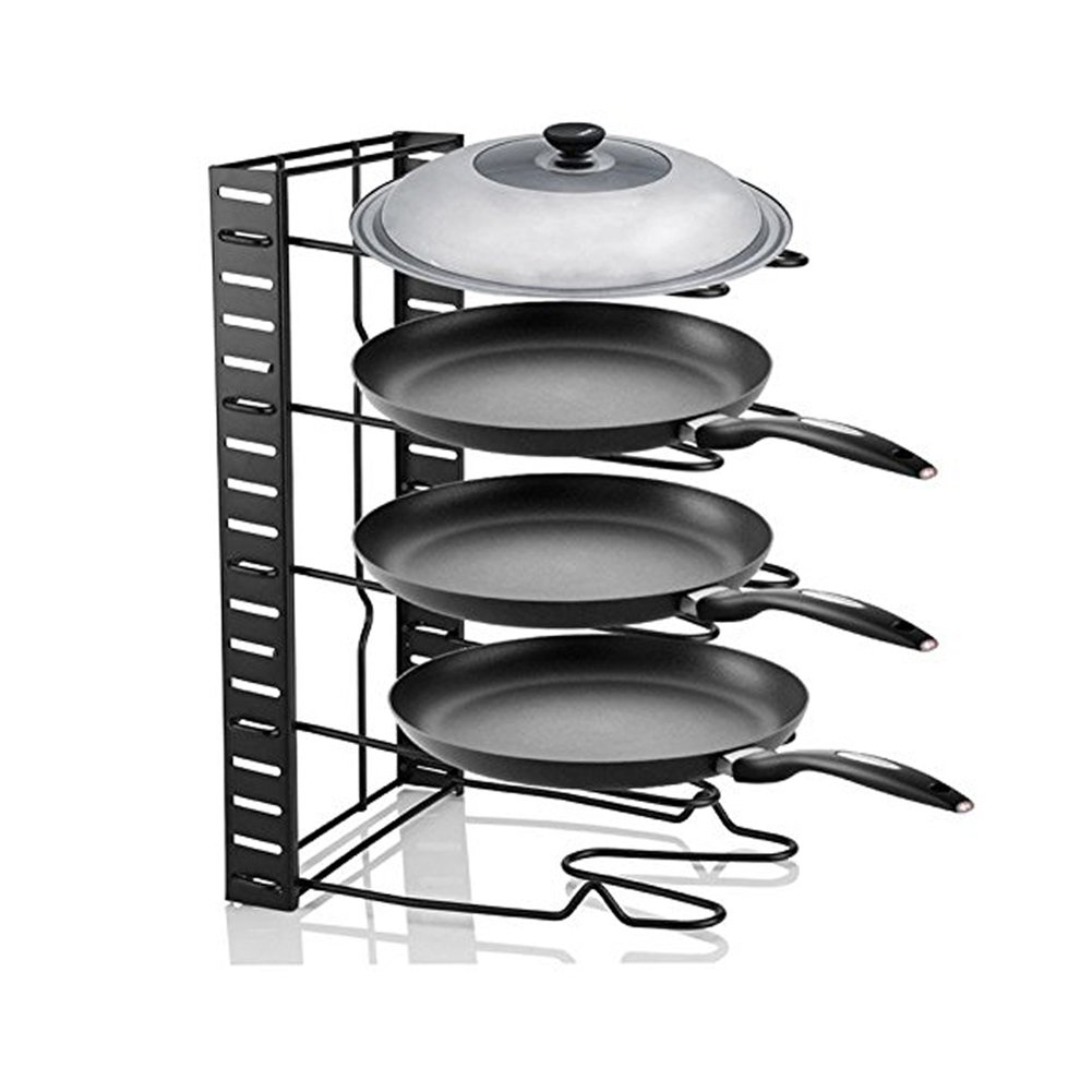 Pot Organizer,Cookware Pan Organizer Holder Rack,Heavy Duty Adjustable Cabinet Pantry Pot Lid Organizer Holder Rack Storage for Cutting Board Roasting Frying Pans,Total 5 Compartments By Meleg Otthon