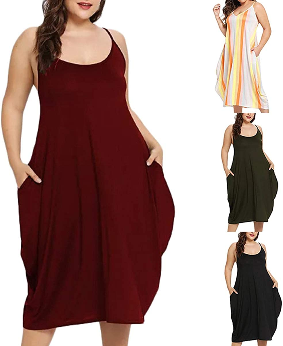Plus Size Dress,Women Fashion Solid Sleeveless Sling Loose Midi Long Dresses with Pockets 2019 New