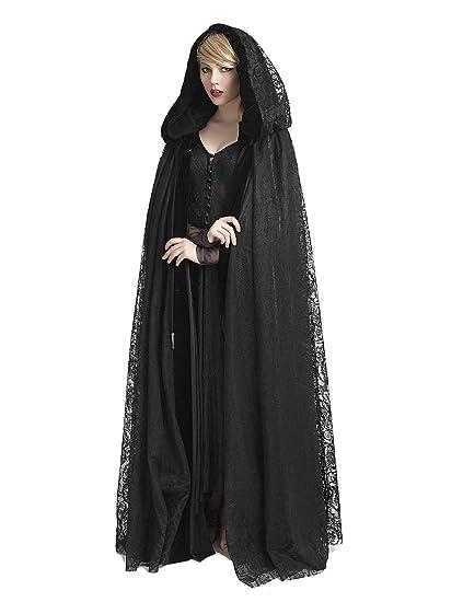 Punk Rave Women's Dark Gothic Medieval Cloak Cape Hooded