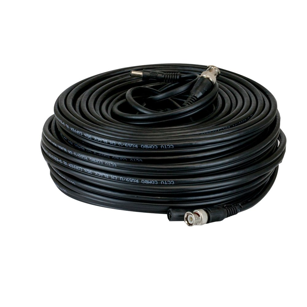 GW Security 100Ft Professional Grade RG59 Siamese Combo Coaxial Cable Pre-made All-in-One BNC Video Power Cable for 5MP/4MP/3MP/1080P TVI,CVI,AHD,HD-SDI Camera and Analog CCTV Camera (100 Feet, Black)