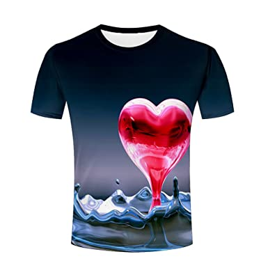 f8683a402667 Men 3D T-Shirt Love Water Drops Printed Summer Unisex Funny Tees Shirts S