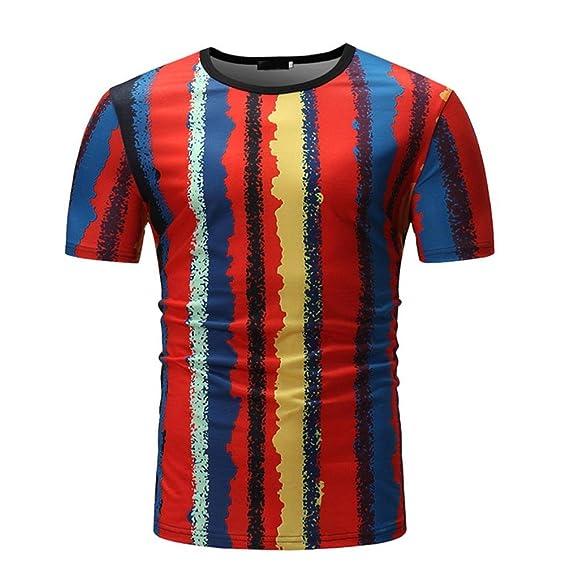 Camiseta para Hombre, Camiseta de Manga Corta con Cuello Redondo y Estampado Casual para Hombre