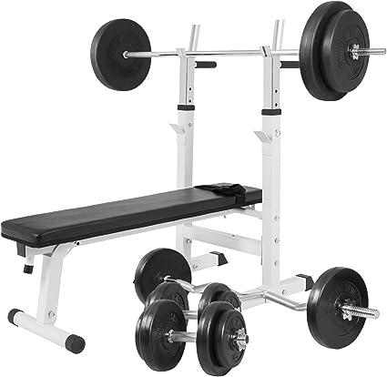 Gorilla Sports® Banc de Musculation avec haltères Longues en Plastique BlancNoir 100 kg