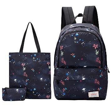 4b54530182a2 JiaYou Girl Boy Cute Lunch Bag Purse/Pencil Bag School Backpack 3 Sets  (20L, 2#Star)