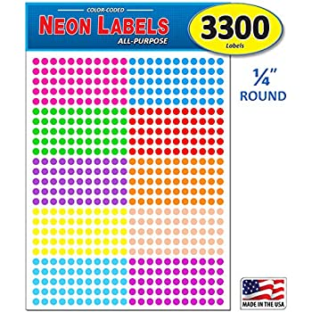 "Pack of 3300 1//4/"" Round Color Coding Circle Dot Labels 10 Bright Neon Colors"