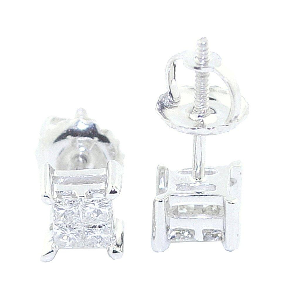 0.25cttw Princess Cut Diamond Earrings Studs Screw Back 10K White Gold 5mm Wide (Ships Overnight! )