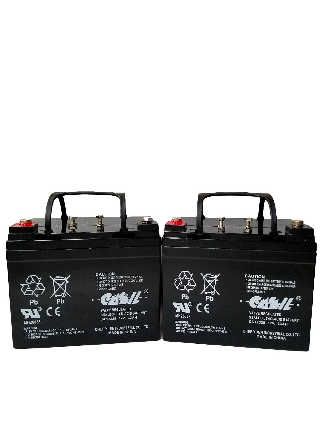 (2) Casil 12v 33ah for Merits Health Products P101 Commuter Battery