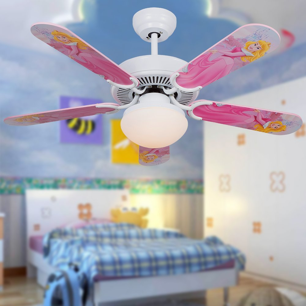Andersonlight 42 inch LED Cartoon Child White Ceiling Fan Light 5 Fan Wood Blade 1 Light Remote Control Variable Speed Motor Scrub Glass Lamp Cover Modern Quiet Health for Baby Room Children Room by Andersonlight (Image #3)