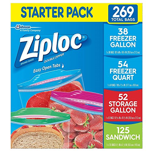 Ziploc Freezer Gallon, Freezer Quart, Storage Gallon, and Sandwich Bags - Variety Pack - 269 Total -
