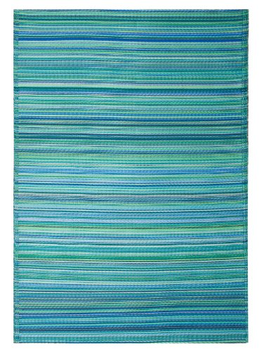 Fab Habitat Cancun Indoor/Outdoor Rug,  Turquoise & Moss Green, (5' x 8') (Outdoor Rugs For Patios)