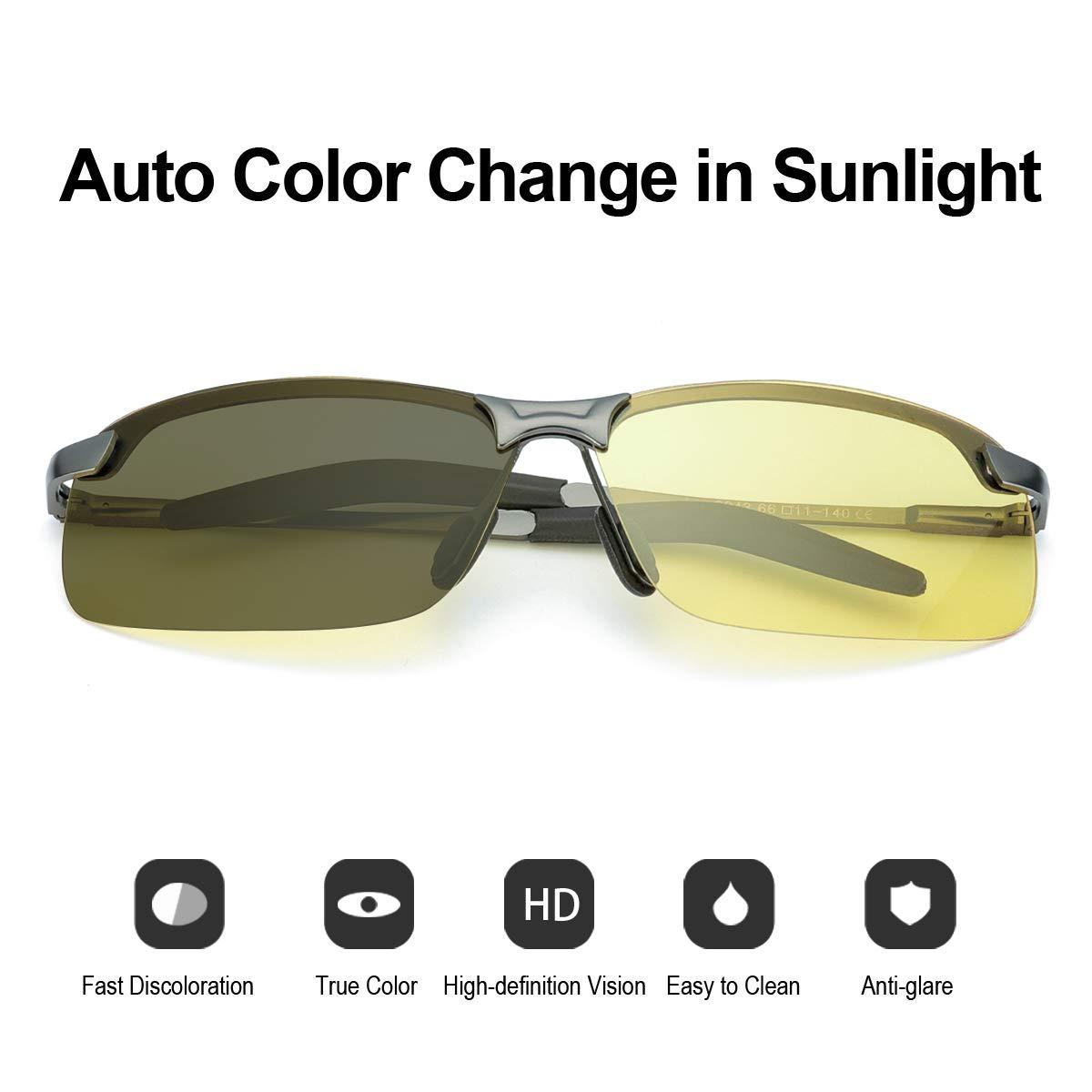 Metallo Montatura per Guidare Protezione 100/% UVA UVB TJUTR Fotocromatici Occhiali Da Notturni Guida Polarizzati Uomo