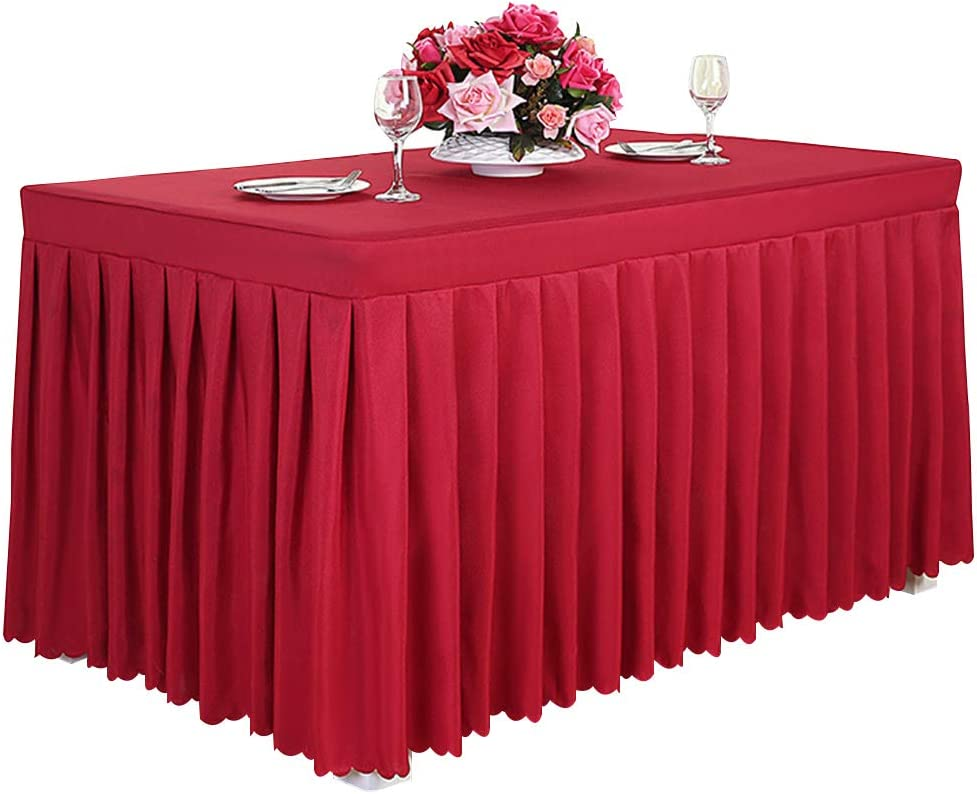 Tina 8 ft Polyester Fitted Tablecloth Table Skirt for Wedding Banquet Trade Show Red