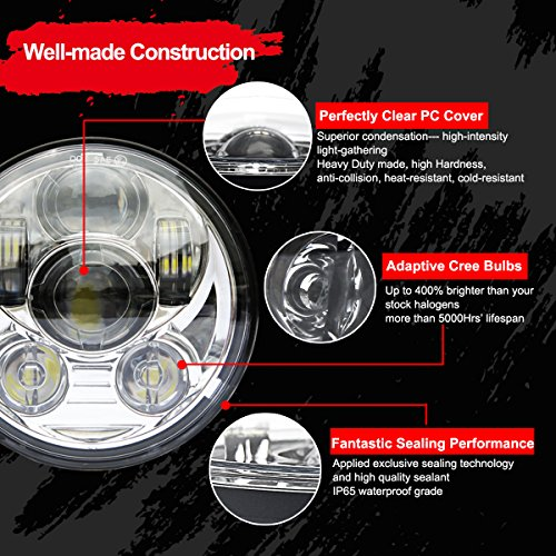 Wisamic 5-3/4'' 5.75'' LED Headlight - Compatible with Dyna Street Bob Super Wide Glide Low Rider Night Rod Train Softail Deuce Custom Sportster Iron 883-Silver by Wisamic (Image #3)