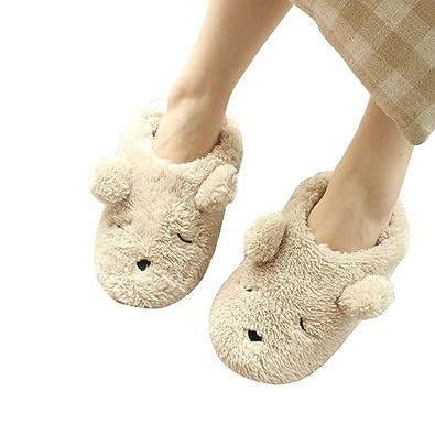 2818999ac75 Warm Cartoon Slippers for Women Indoor Fleece Plush Non Slip Dedroom Winter  Booties Beige 5.5-