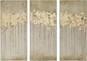 """Madison Park Wall Art Living Room Décor - Embelished Gold Foil Triptych Canvas Home Accent Dining, Bathroom Decoration, Ready to Hang Painting for Bedroom, 15"""" x 35"""", Sandy Forest Yellow, 3 Piece"""