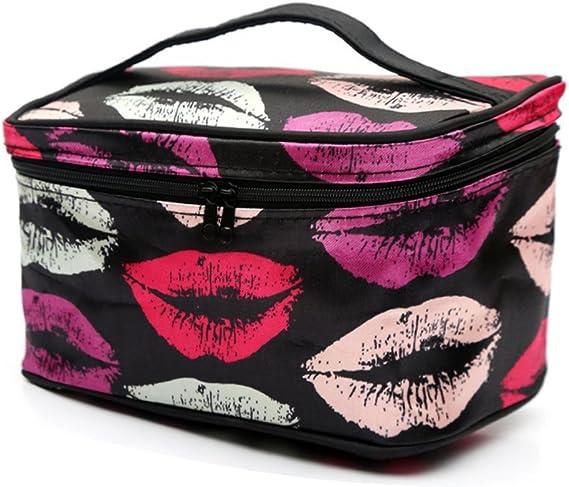 Make Up bag handmade 6X 7 40 lip kisses zipper  lined