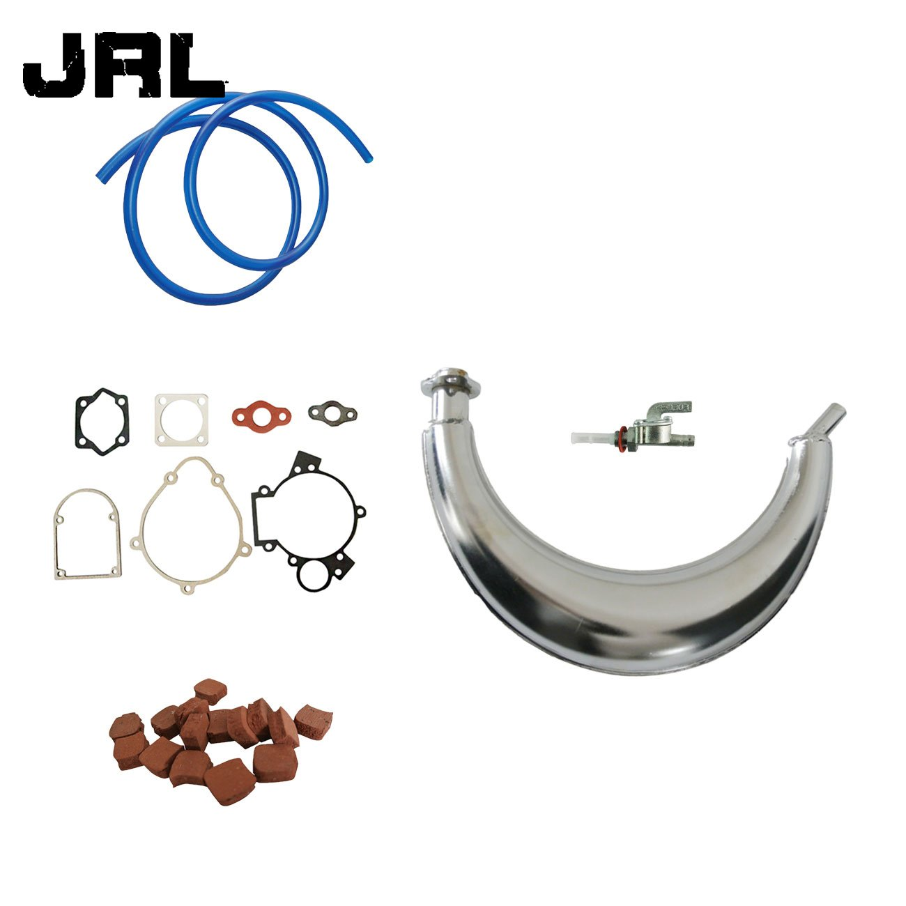 JRL Muffler Exhaust/&15pcs Square Clutch Pads For 66cc 80cc Engine Motorized Bike