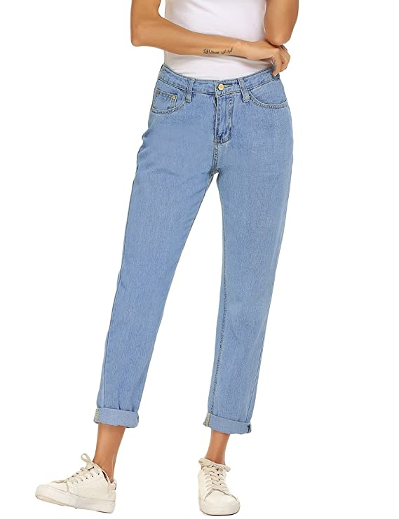 Zhenwei Women's Juniors High Waist Vintage Straight Leg Mom Jeans by Zhenwei