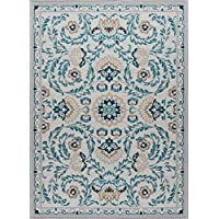 Madeline Transitional Floral Cream Non-Skid Rectangle Area Rug, 5 x 7