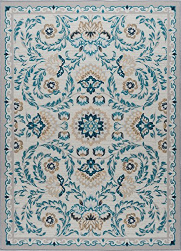 Madeline Transitional Floral Cream Non-Skid Rectangle Area Rug, 5' x 7'