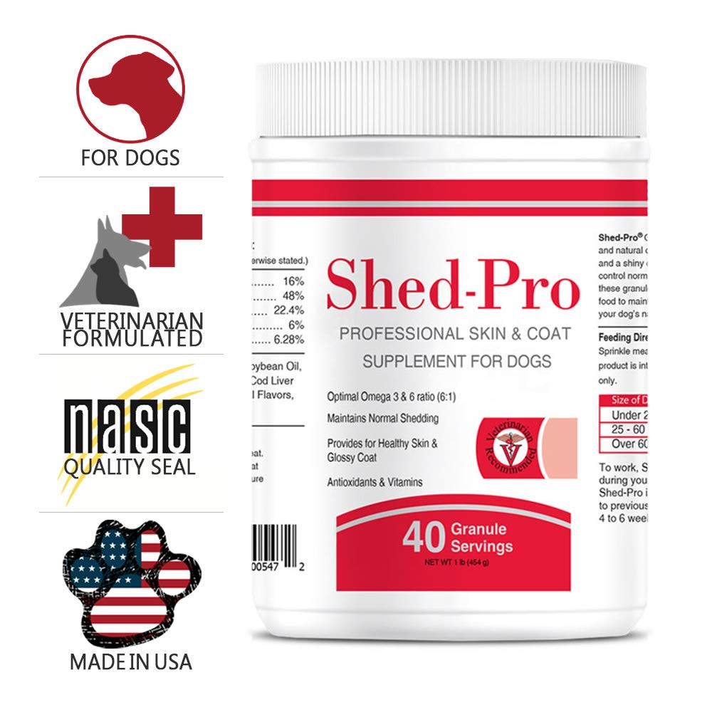 Shedpro Granules for Dogs - Vitamins, Minerals, Natural Oils - Moisturized Skin and Shiny Coat - Control Normal Shedding - Supplement for Healthy Skin - 40 Servings by Pet Health Solutions