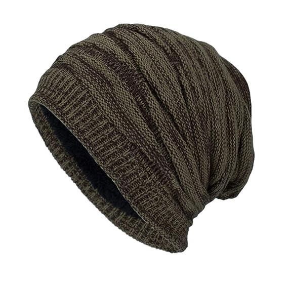7c324c5622b2a Sombrero de Gorrita Tejida para Hombre Gorro de Lana de Invierno de Color  sólido Sombrero Plisado con Pliegues  Amazon.es  Ropa y accesorios