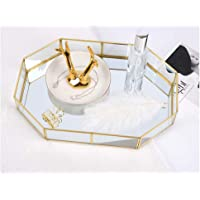 Hggzeg Bandeja de cristal dorado con espejo, bandeja