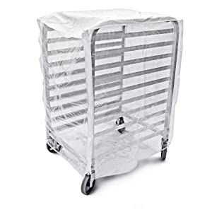 """Bags & Covers, Bakery Pan Rack Cover, Heavy Duty Plastic, 3 Zippers, 24"""" W x 28"""" L x 63"""", Made in USA (28""""x 23""""x33"""")"""