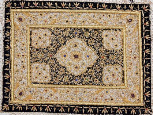 - Handmade Precious Jewel Carpet Zardozi Embroidered Kashmir Rug Decorative Wall Hanging Art Tapestry ~ 24 Inch X 18 Inch