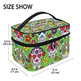 GIOVANIOR Day Of The Dead Sugar Skull Print Large Cosmetic Bag Travel Makeup Organizer Case Holder for Women Girls