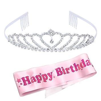 Amazon.com: Sppry – Tiara de cumpleaños para niña con peine ...