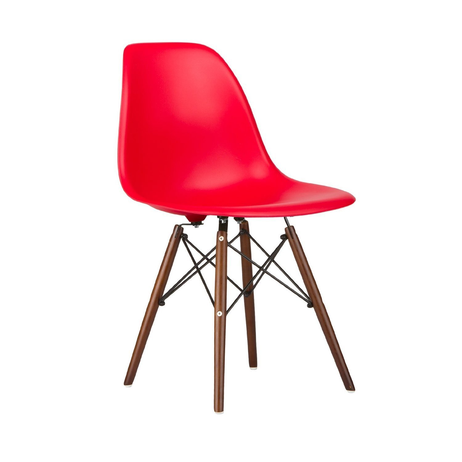 Nicer Furniture ™ Set of Four (4) Black - Eames Style Side Chair with Walnut Wood Legs Eiffel Dining Room Chair - Lounge Chair with No Arm Arms Armless Chairs Seats Wooden Wood Dowel Leg - Eiffel Legged Base Molded Plastic Seat Shell Top - Paris Tower Side