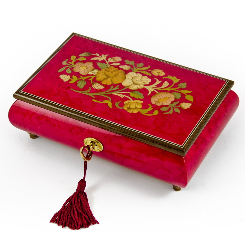 Radiant 18 Note Italian Red Wine Floral Inlay Musical Jewelry Box with Lock and Key - In the Good Old Summertime
