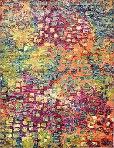 Unique Loom Jardin Collection Colorful Abstract Multi Area Rug (10' 0 x 13' - Dark Multi Area Rug