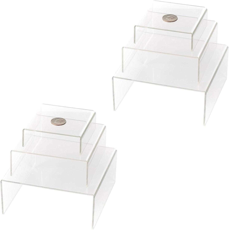 Huji Clear Medium Low Profile Set of 3 Acrylic Risers Display Stands (2 Set, Clear Acrylic Risers)